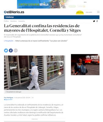 La Generalitat confina las residencias de mayores de l'Hospitalet, Cornellà y Sitges