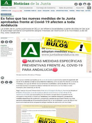 Alerta bulos. Es falso que las nuevas medidas de la Junta aprobadas frente al Covid-19 afecten a toda Andalucía