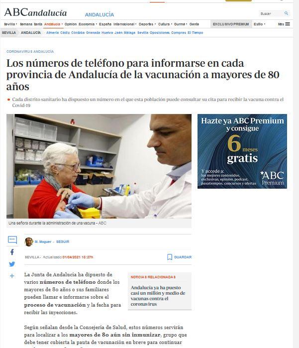 Los números de teléfono para informarse en cada provincia de Andalucía de la vacunación a mayores de 80 años