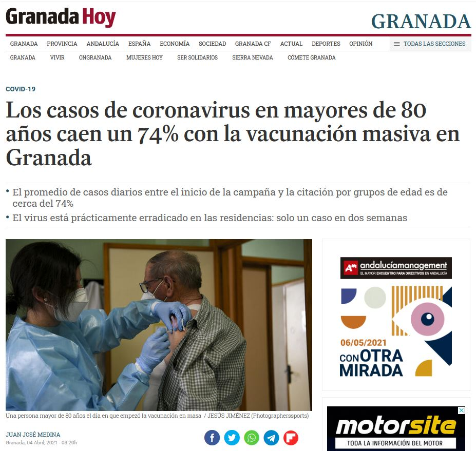 Los casos de coronavirus en mayores de 80 años caen un 74% con la vacunación masiva en Granada