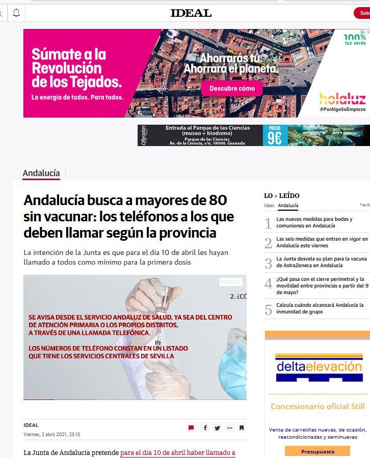 Andalucía busca a mayores de 80 sin vacunar: los teléfonos a los que deben llamar según la provincia