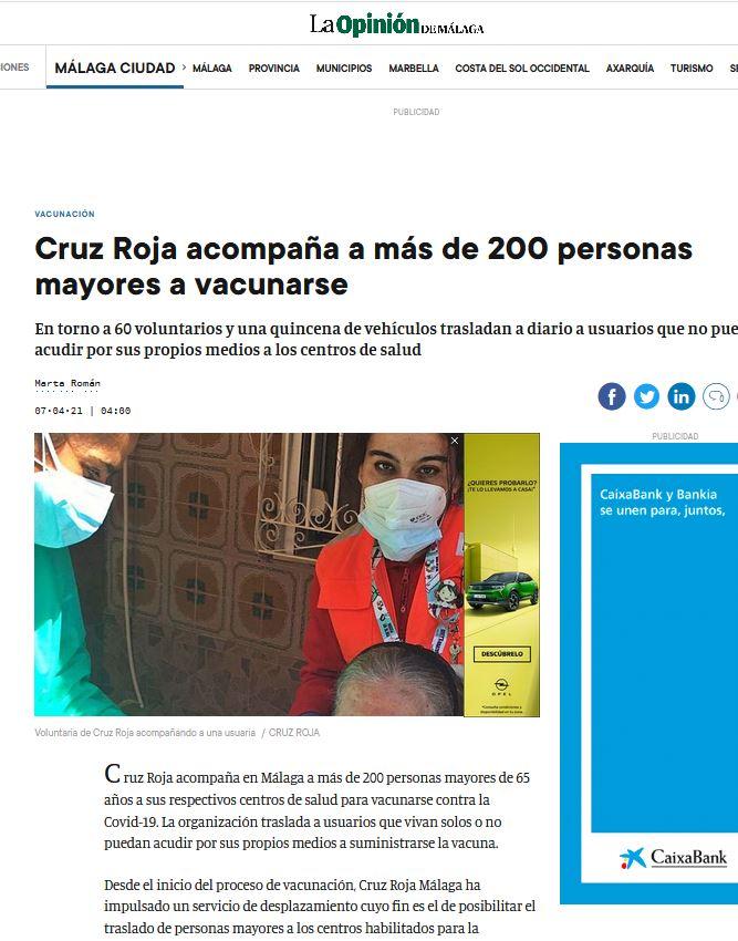 Cruz Roja acompaña a más de 200 personas mayores a vacunarse