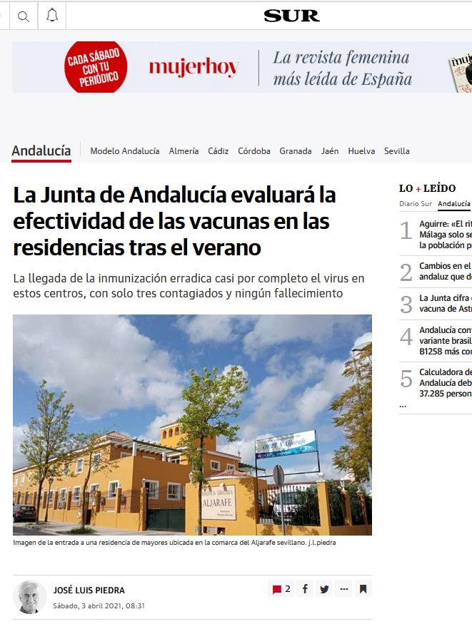 La Junta de Andalucía evaluará la efectividad de las vacunas en las residencias tras el verano
