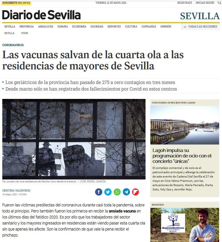 Las vacunas salvan de la cuarta ola a las residencias de mayores de Sevilla