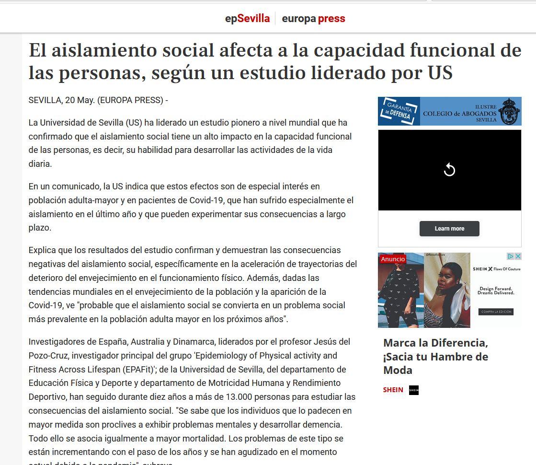 El aislamiento social afecta a la capacidad funcional de las personas, según un estudio liderado por US