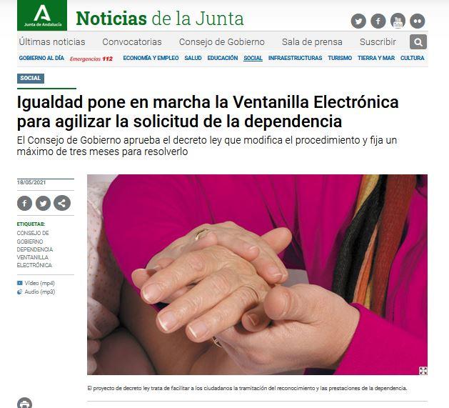 Igualdad pone en marcha la Ventanilla Electrónica para agilizar la solicitud de la dependencia