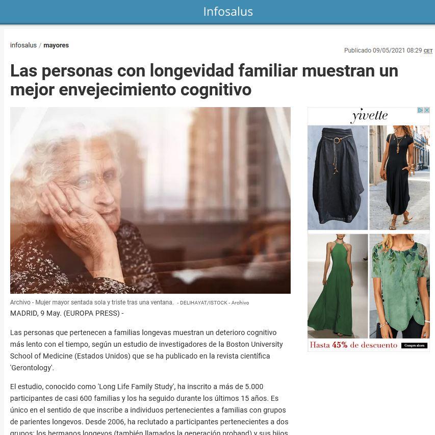 Las personas con longevidad familiar muestran un mejor envejecimiento cognitivo