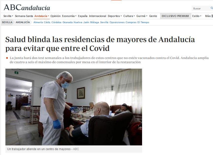 Salud blinda las residencias de mayores de Andalucía para evitar que entre el Covid