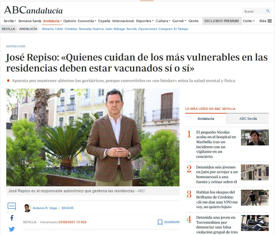 José Repiso: «Quienes cuidan de los más vulnerables en las residencias deben estar vacunados sí o sí»