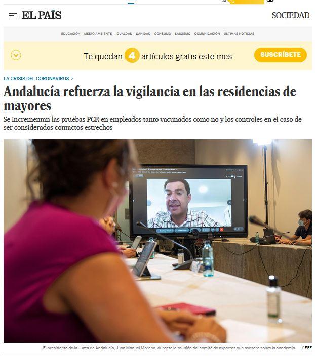 Andalucía refuerza la vigilancia en las residencias de mayores