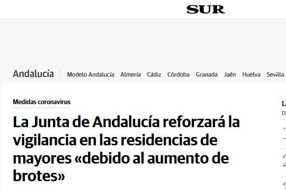 La Junta de Andalucía reforzará la vigilancia en las residencias de mayores «debido al aumento de brotes»