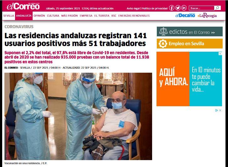 Las residencias andaluzas registran 141 usuarios positivos más 51 trabajadores
