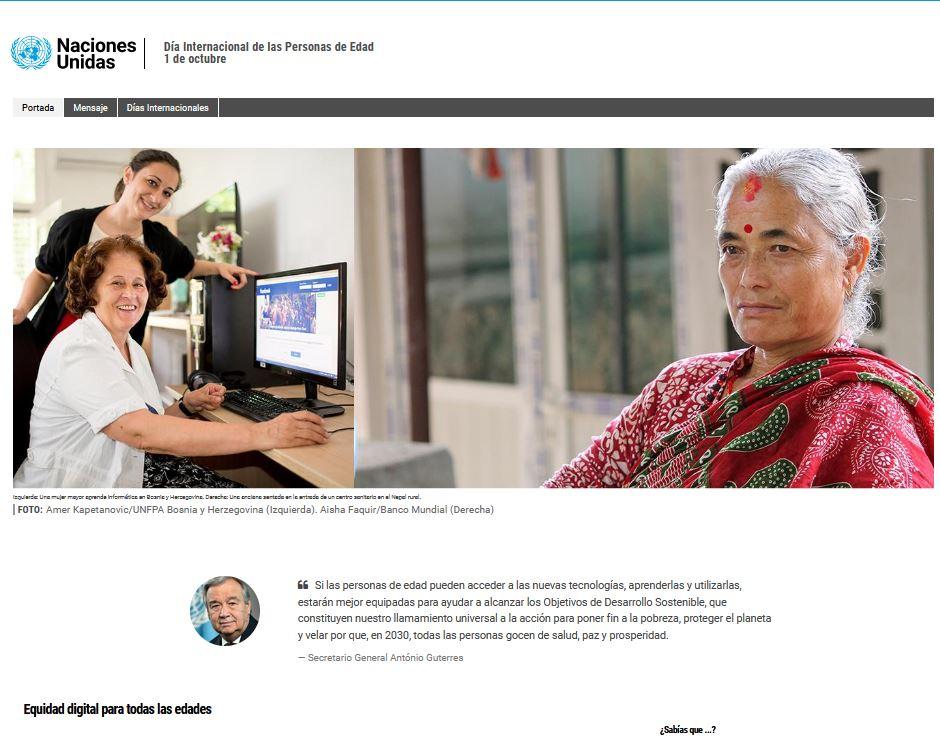Día Internacional de las Personas de Edad 1 de octubre. Naciones Unidas