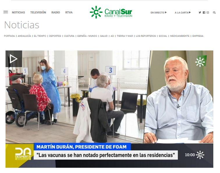"""Martín Durán: """"La tercera dosis se está notando en las residencias, pero se ha puesto tarde"""""""