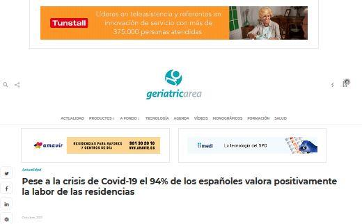 Pese a la crisis de Covid-19 el 94% de los españoles valora positivamente la labor de las residencias