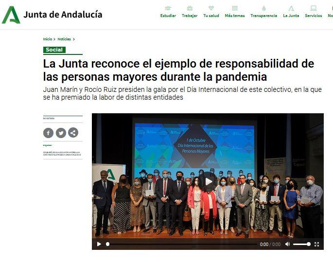 La Junta reconoce el ejemplo de responsabilidad de las personas mayores durante la pandemia