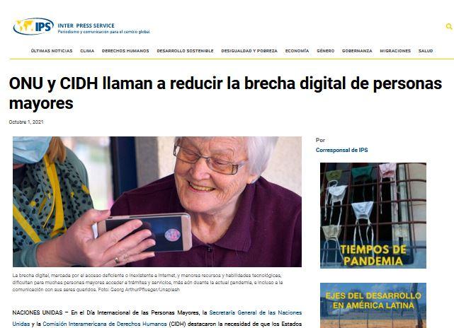 ONU y CIDH llaman a reducir la brecha digital de personas mayores